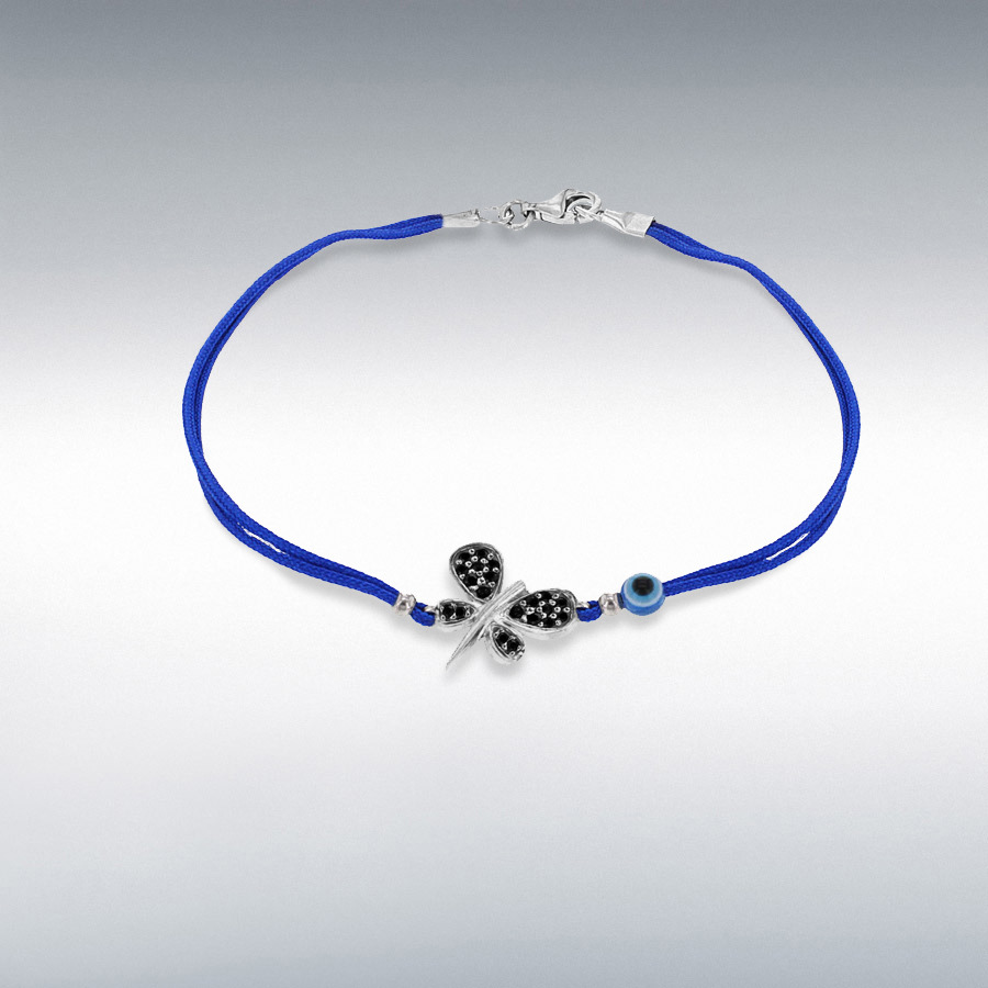 Sterling Silver Black CZ 13.5mm x 18.5mm Dragonfly and Bead Blue Cord Bracelet 18cm/7''