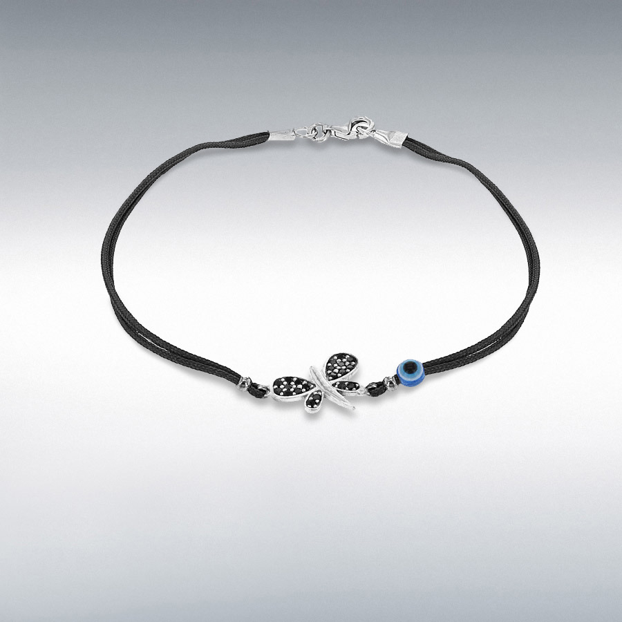 Sterling Silver Black CZ 13.5mm x 18.5mm Dragonfly and Bead Black Cord Bracelet 18cm/7''
