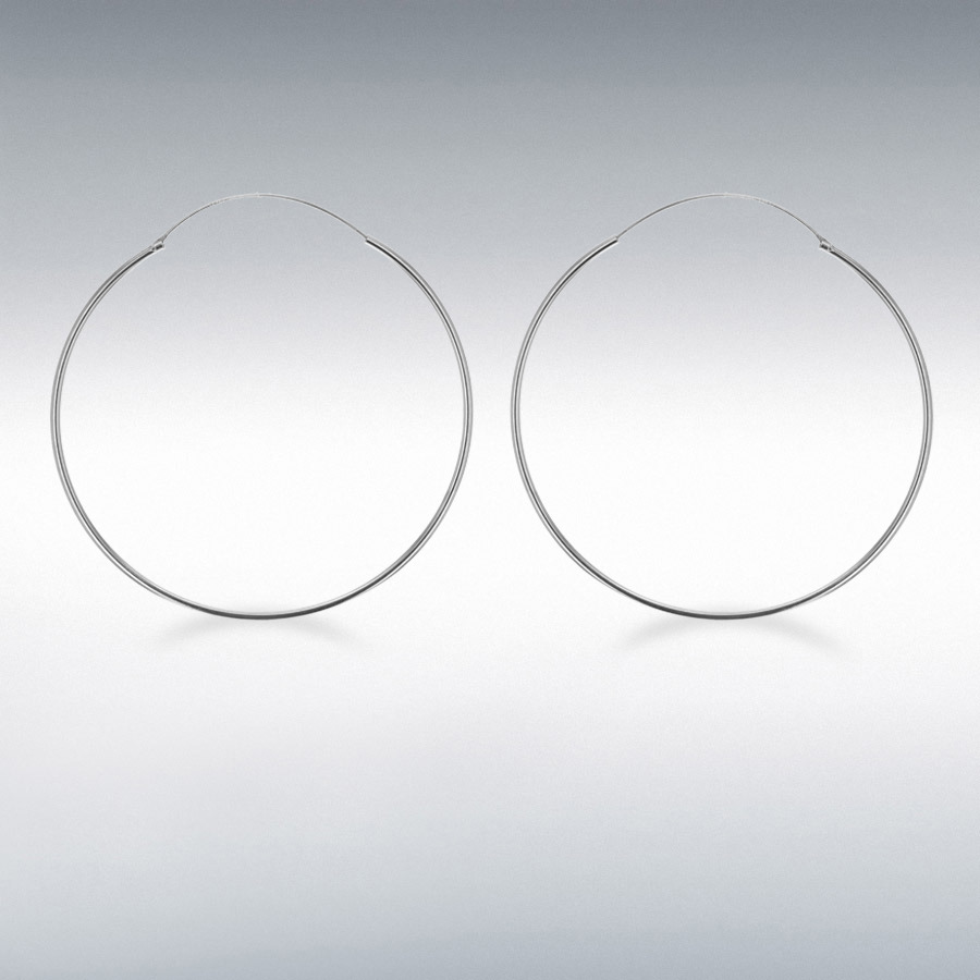 Sterling Silver 60mm Endless Hoop Earrings