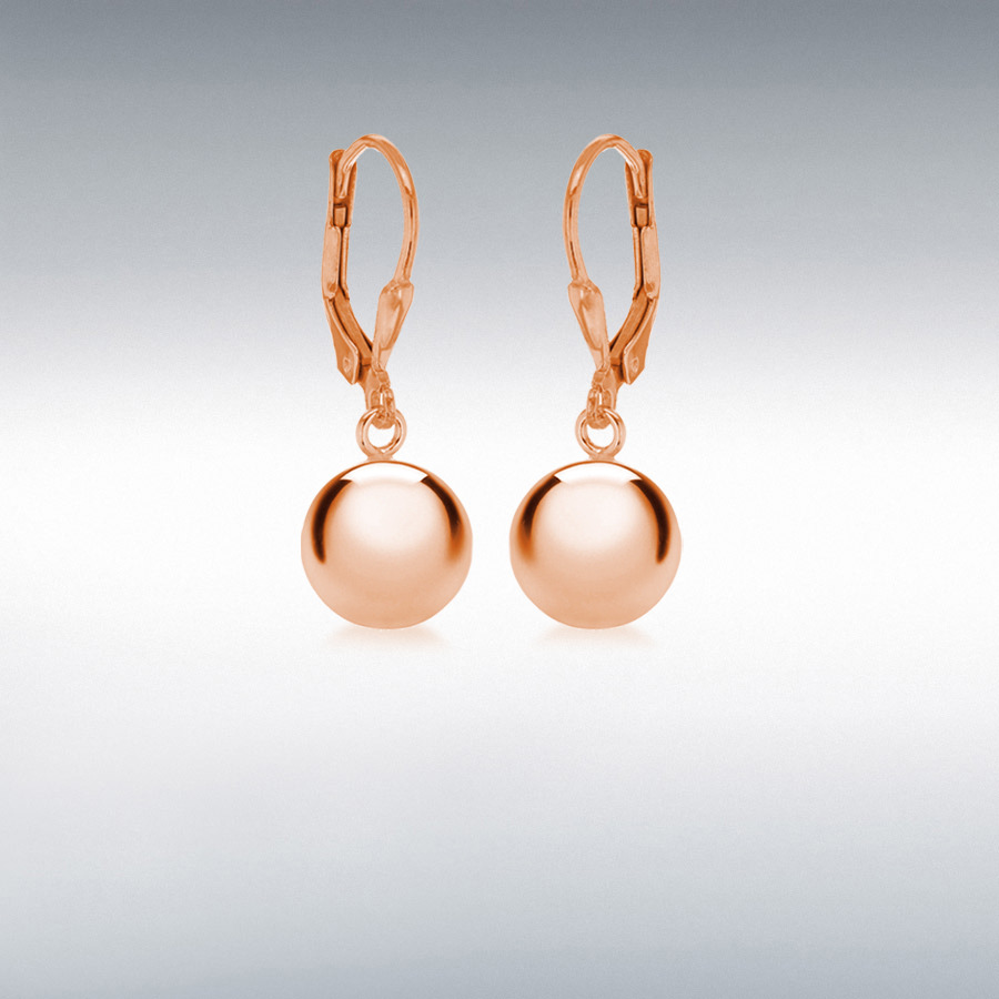 Sterling Silver Rose Gold Plated 10mm Ball Drop Earrings