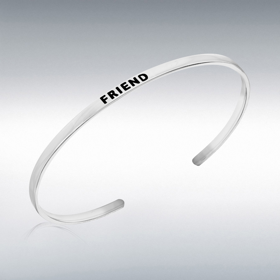 Sterling Silver 'Friend' Message Cuff Bangle