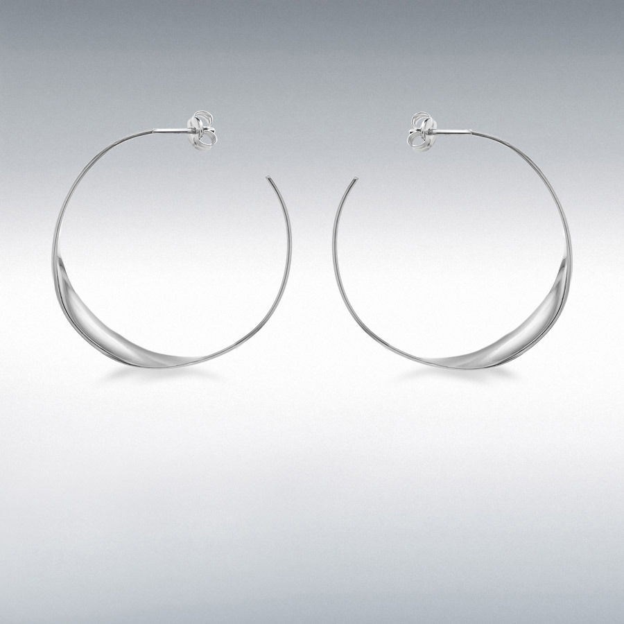 Sterling Silver 37mm Flat Twist Hoop Earrings