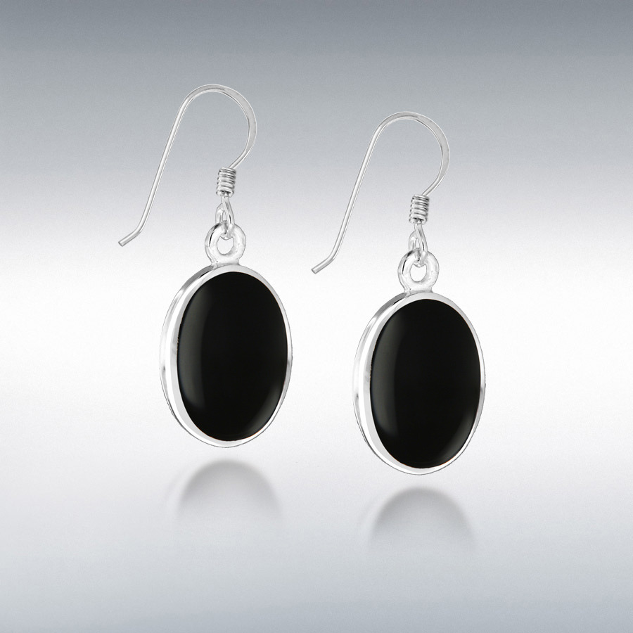 Sterling Silver Oval Onyx 12.5mm x 32.5mm Drop Earrings