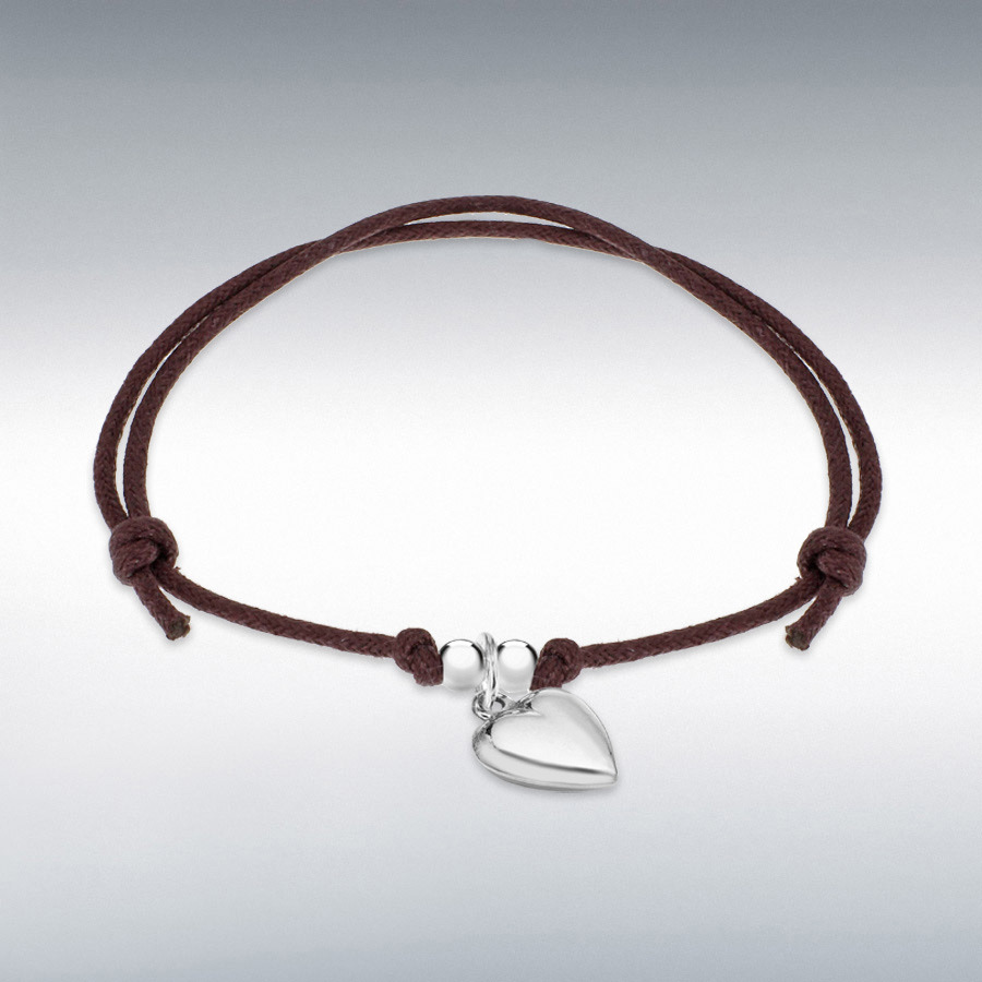 "Sterling Silver Heart Brown Cord Adjustable Bracelet 15cm/6""-25.5cm/10"""