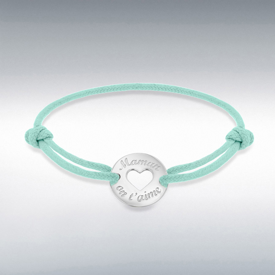 Sterling Silver Rhodium Plated Aqua Cord 16.4mm 'Maman on t'aime' Disc Adjustable Bracelet