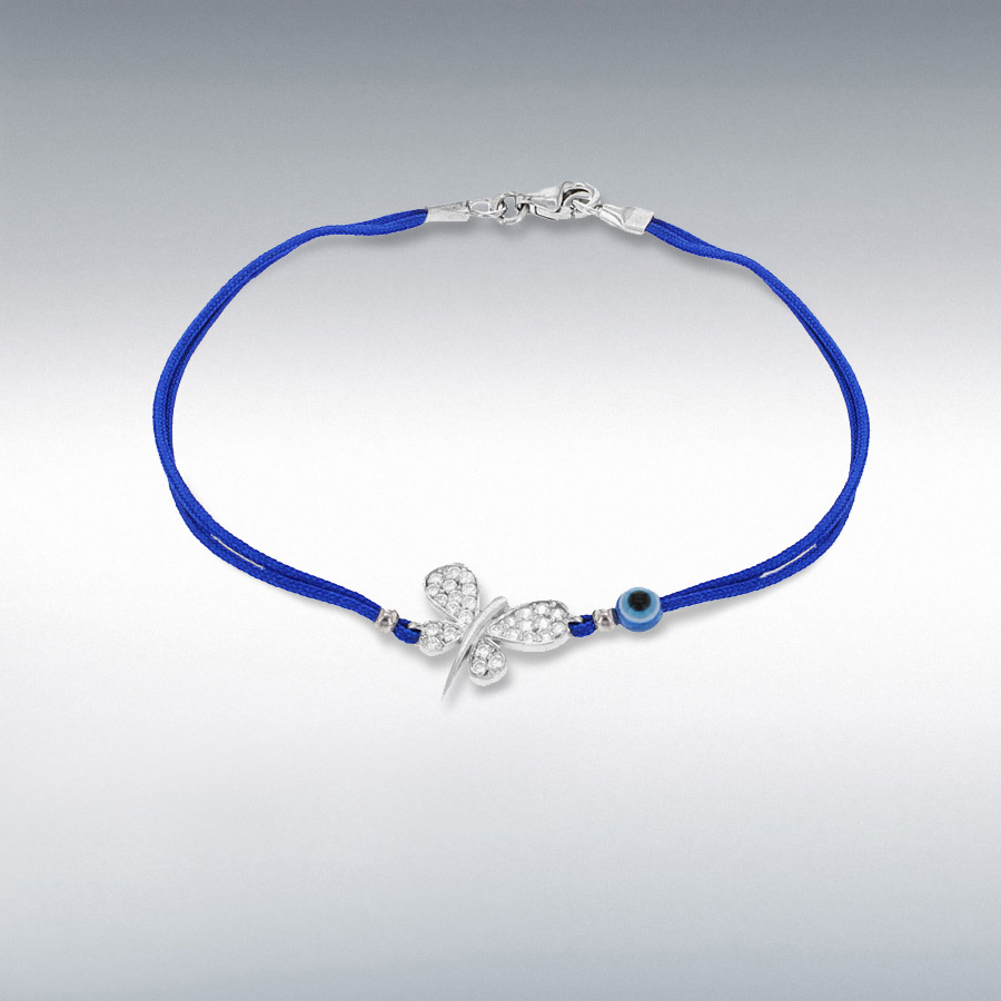 Sterling Silver White CZ 13.5mm x 18.5mm Dragonfly and Bead Blue Cord Bracelet 18cm/7''