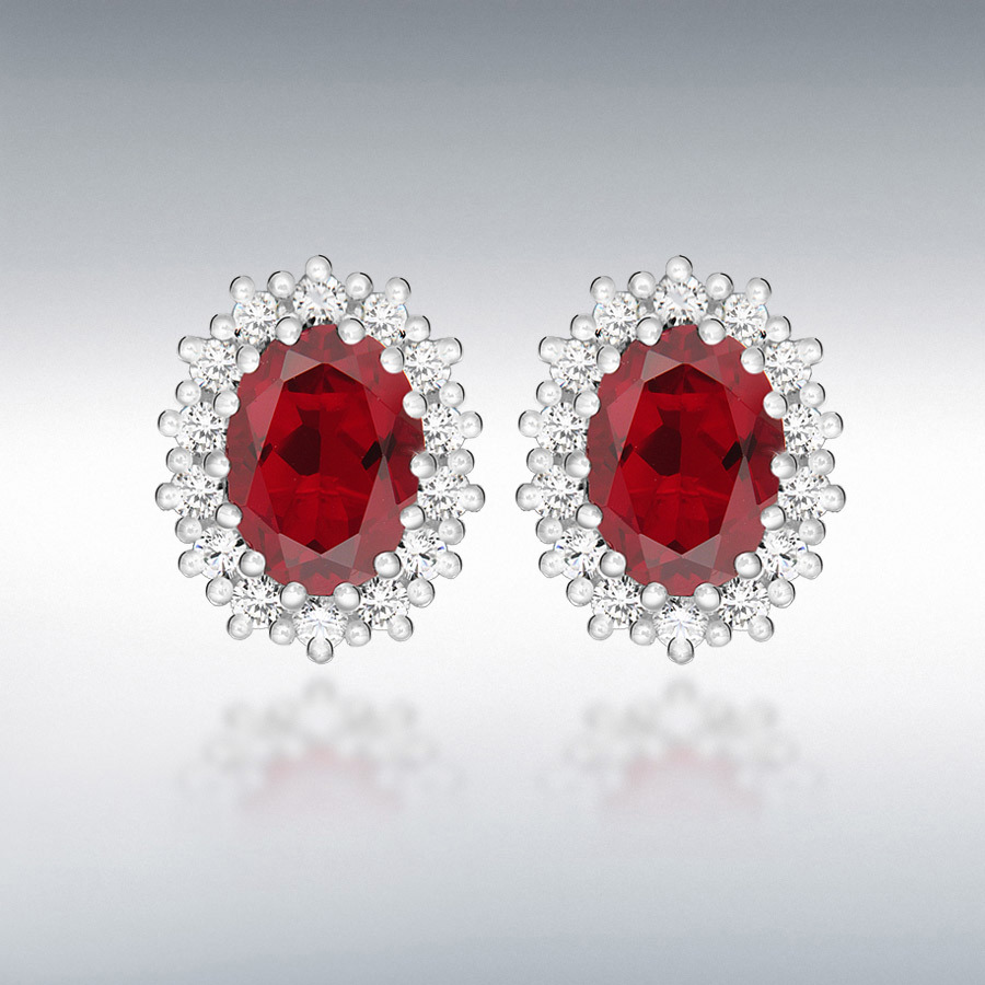 Sterling Silver White CZ and Red Glass 7mm x 9mm Cluster Oval Stud Earrings