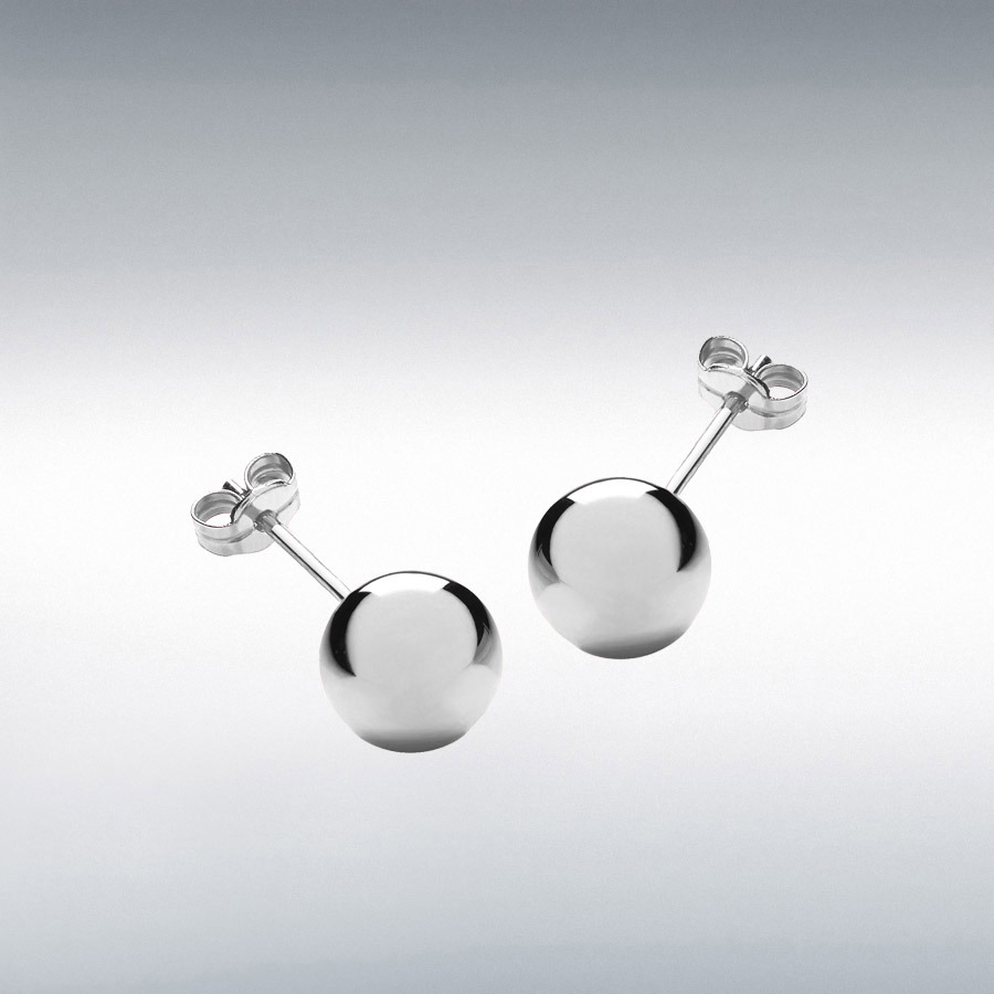 18ct White Gold 10mm Ball Stud Earrings