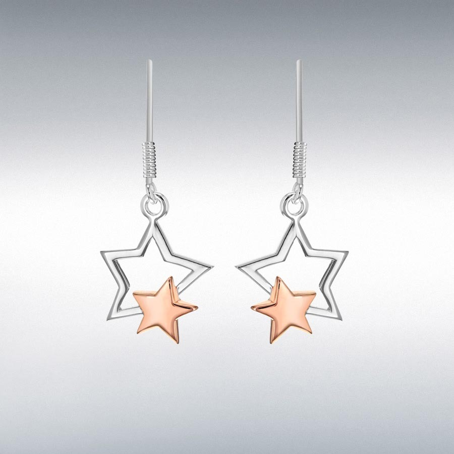 SIL&RGP DBL STAR DROP EARRINGS