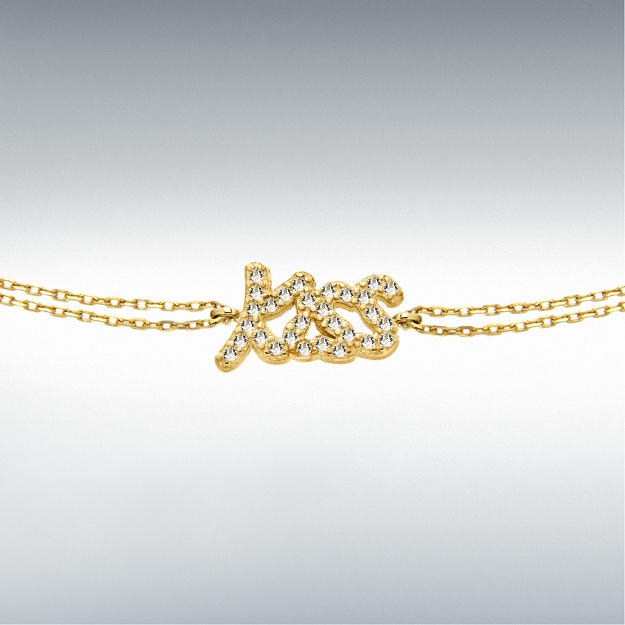 Sterling Silver Gold Plated CZ 'Kiss' Bracelet 19cm/7.5""