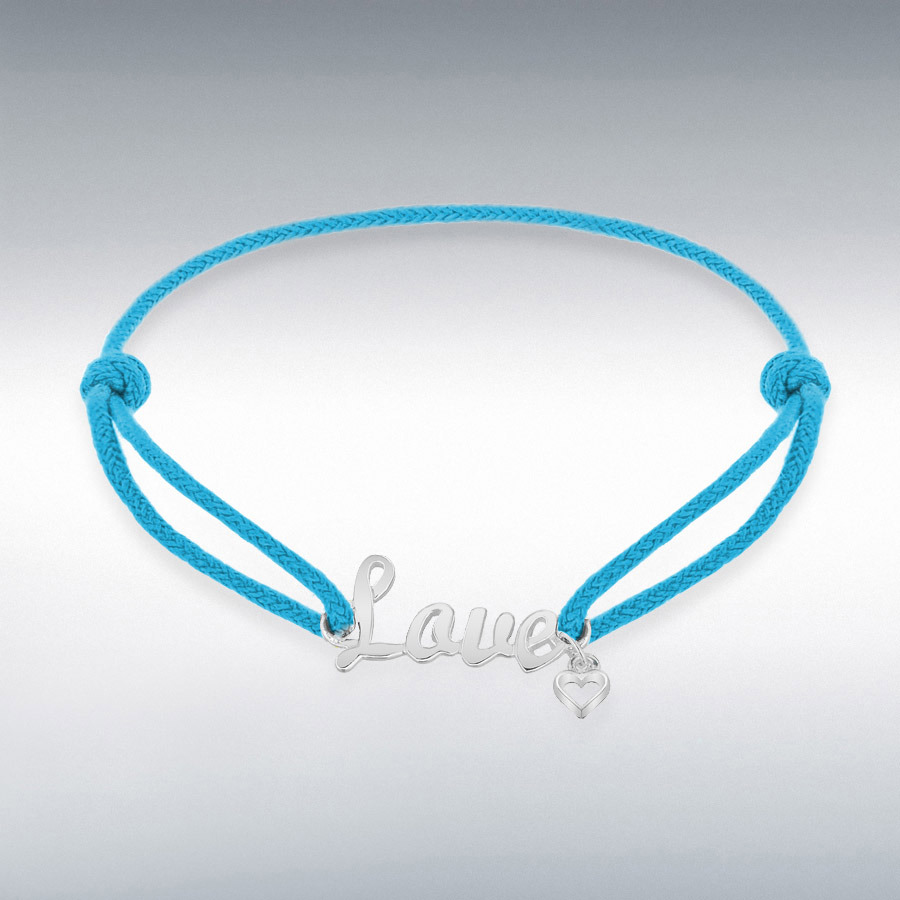 Sterling Silver Rhodium Plated Light Blue Cord 'Love' Bracelet