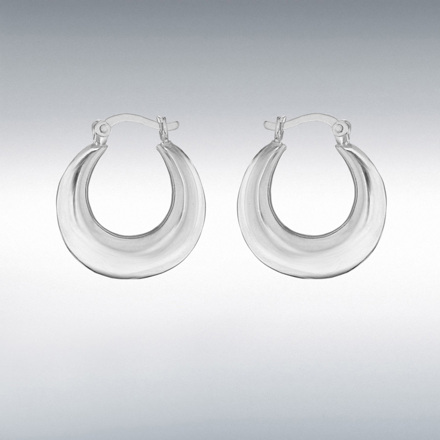 Sterling Silver 18.5mm Plain Graduated Creole Earrings