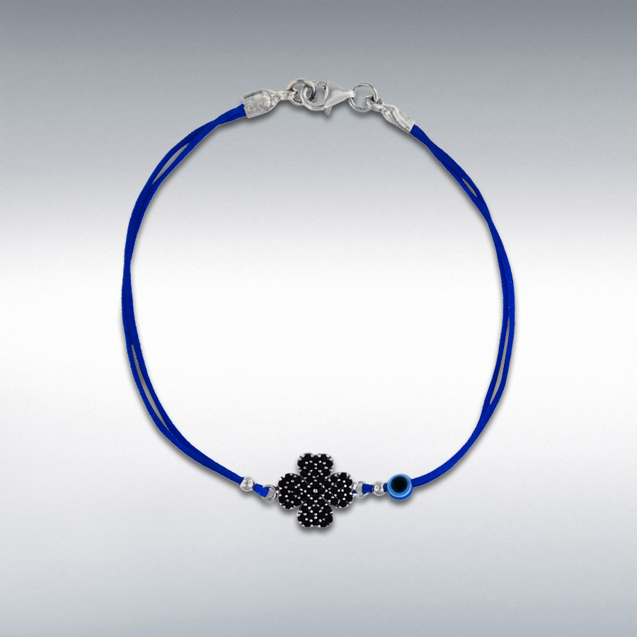 Sterling Silver Black CZ 13mm x 11.5mm Clover and Bead Blue Cord Bracelet 18cm/7''