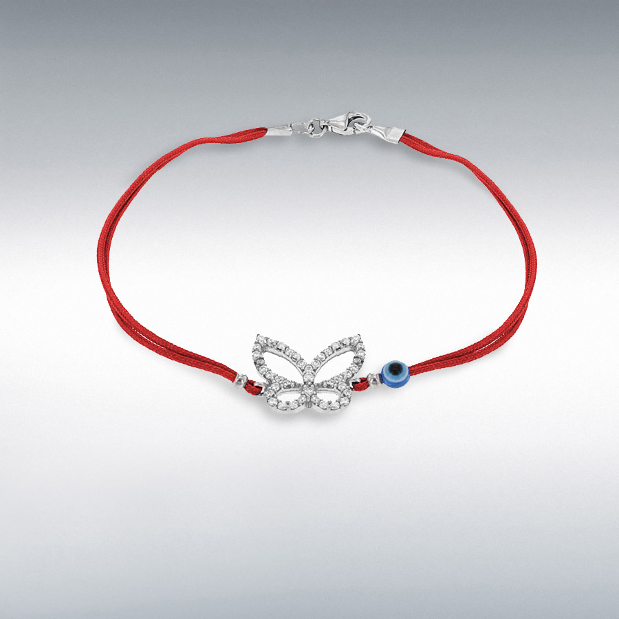 Sterling Silver White CZ Butterfly and Bead Red Cord Bracelet 18cm/7""