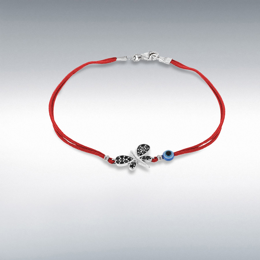 Sterling Silver Black CZ Dragonfly and Bead Red Cord Bracelet 18cm/7""