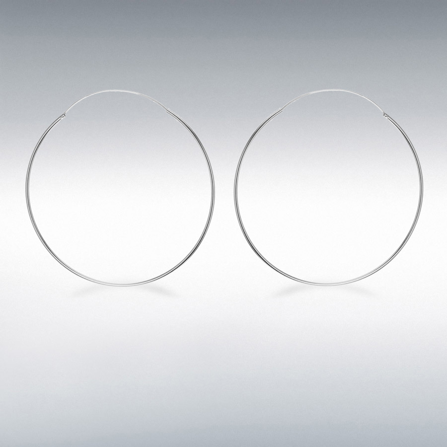 Sterling Silver 70mm Endless Hoop Earrings