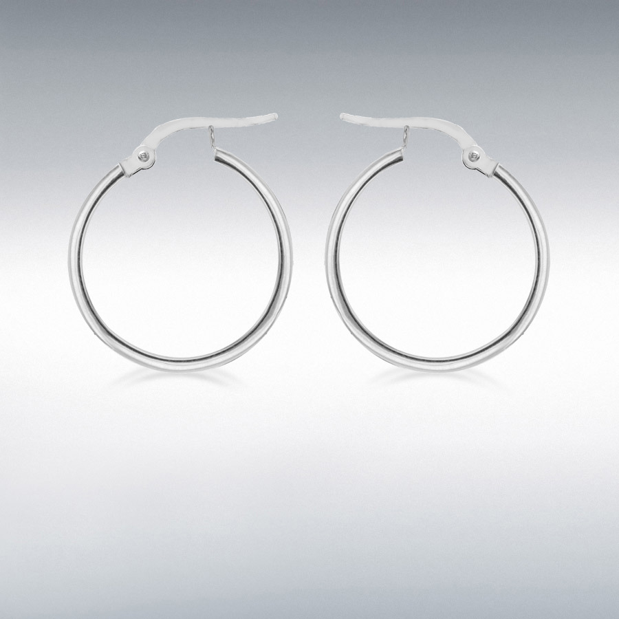 Sterling Silver 30mm Square-Tube Hoop Earrings