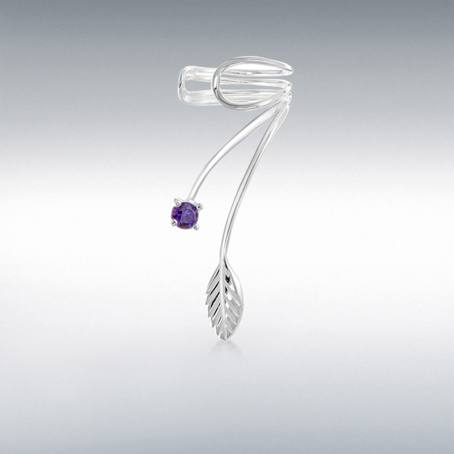 Sterling Silver Purple CZ 12mm x 28mm Wire Leaf Ear Cuff