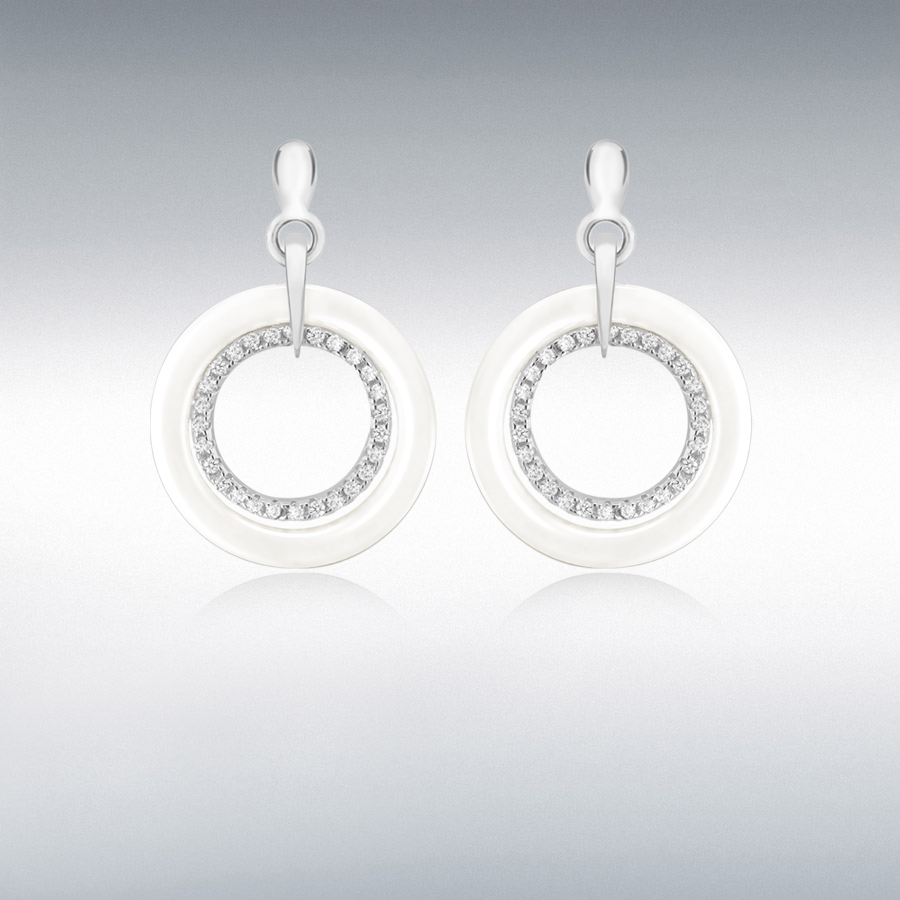 Sterling Silver Rhodium Plated Pave Set CZ and White Ring Earrings