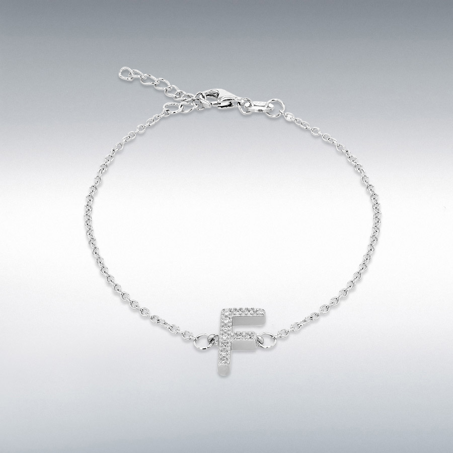 Sterling Silver Rhodium Plated CZ 6mm x 11mm 'F' Initial Bracelet 19cm/7.5''