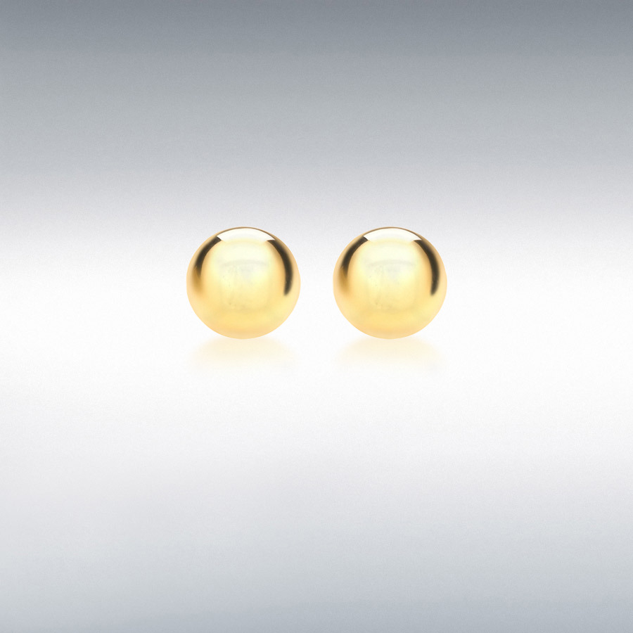 Sterling Silver Yellow Gold Plated 8mm Ball Stud Earrings