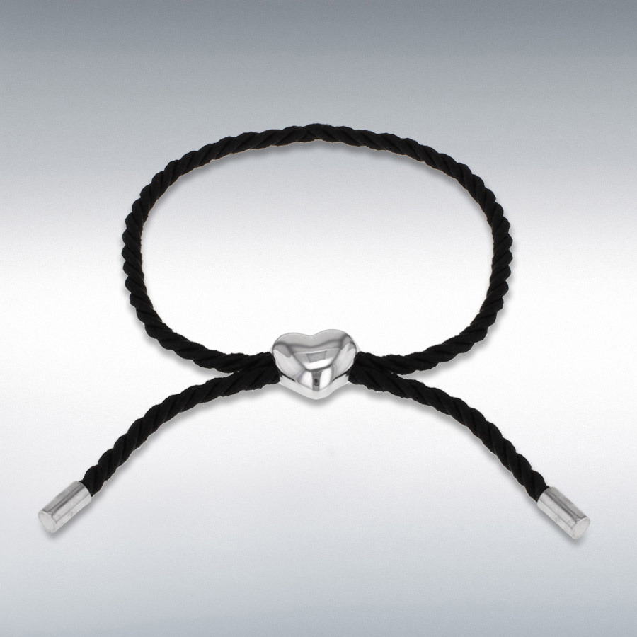 Sterling Silver Rhodium Plated Heart Black Cord Adjustable Bracelet up to 25.5cm/10""