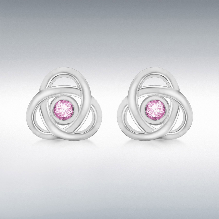 Sterling Silver 2mm Pink CZ 10mm x 10mm Celtic Knot Stud Earrings