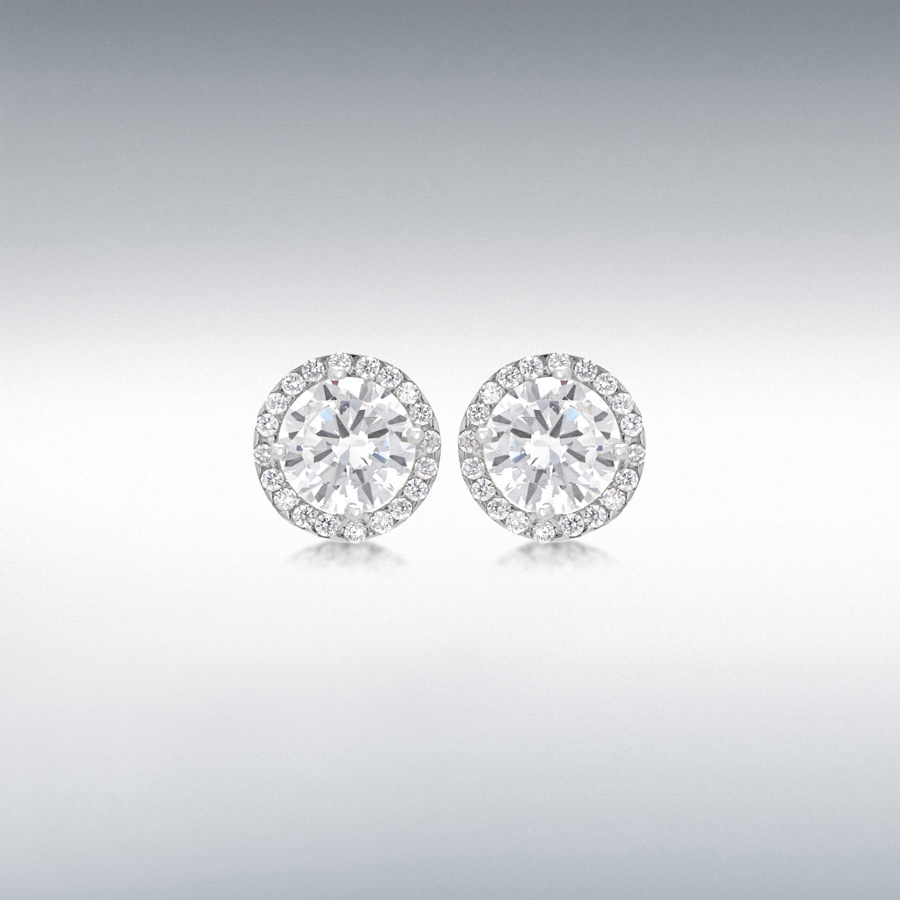 9ct White Gold 6mm Round CZ and Pave Set 9mm Stud Earrings