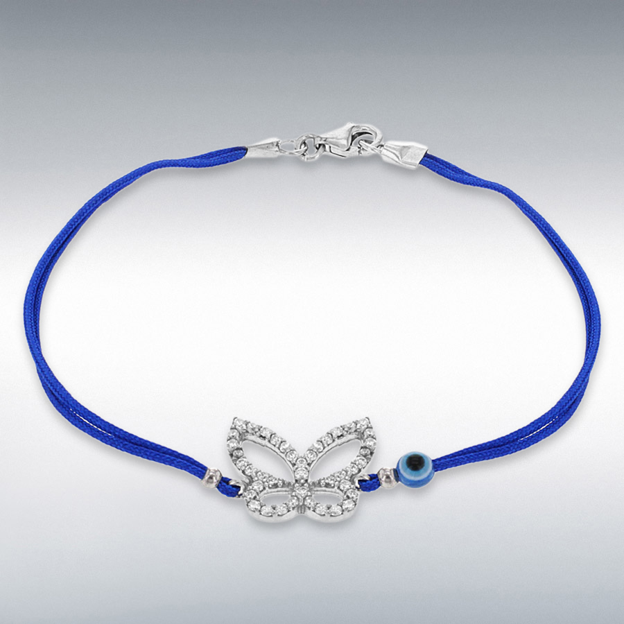 Sterling Silver White CZ Butterfly and Bead Blue Cord Bracelet 18cm/7""