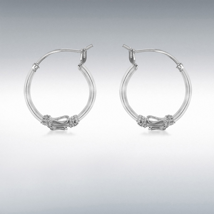 Sterling Silver 16mm Rope Design Hoop Earrings