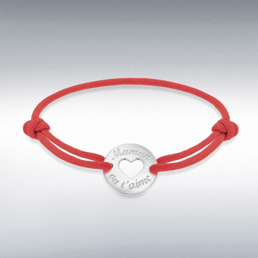 Sterling Silver Rhodium Plated Red Cord 16.4mm 'Maman on t'aime' Disc Adjustable Bracelet