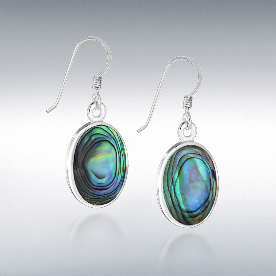 Sterling Silver 12.4mm x 32.5mm Oval Paua Shell Drop Earrings