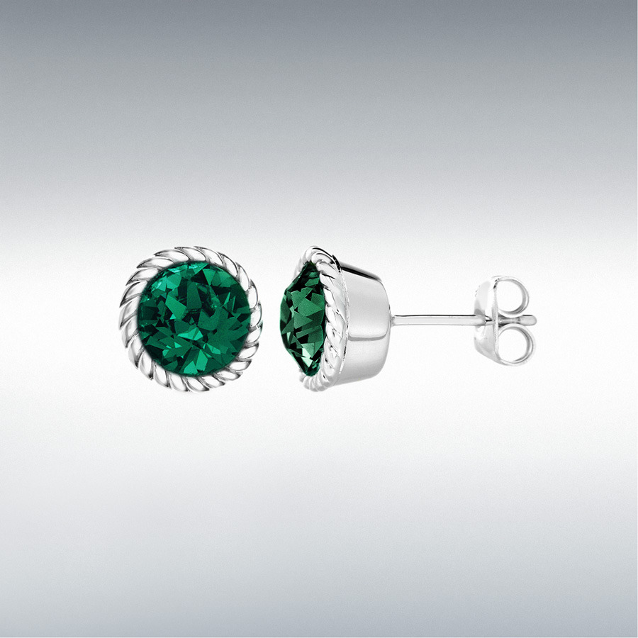 Sterling Silver Deep Green Swarovski Crystal 11mm May Birthstone Stud Earrings
