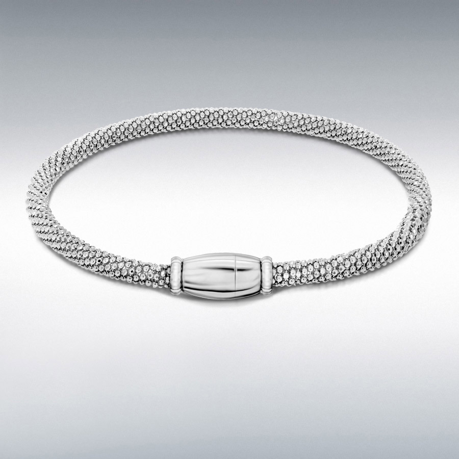 Sterling Silver Rhodium Plated Sparkle Magnetic Bracelet 19cm/7.5""