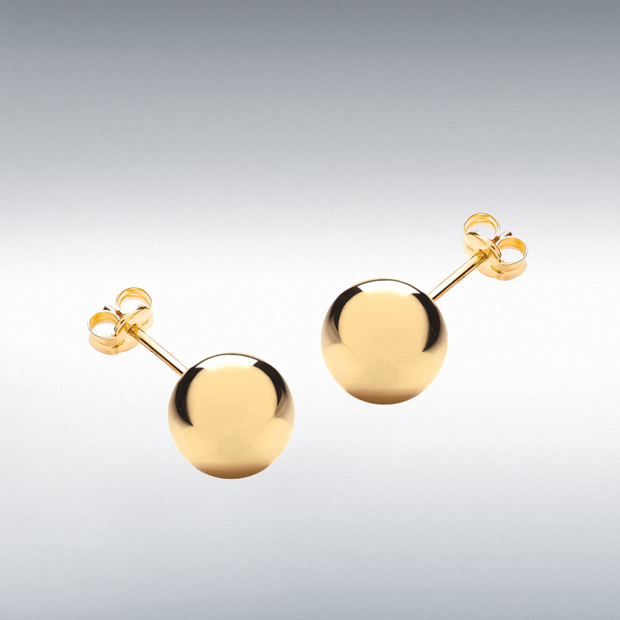18ct Yellow Gold 10mm Ball Stud Earrings