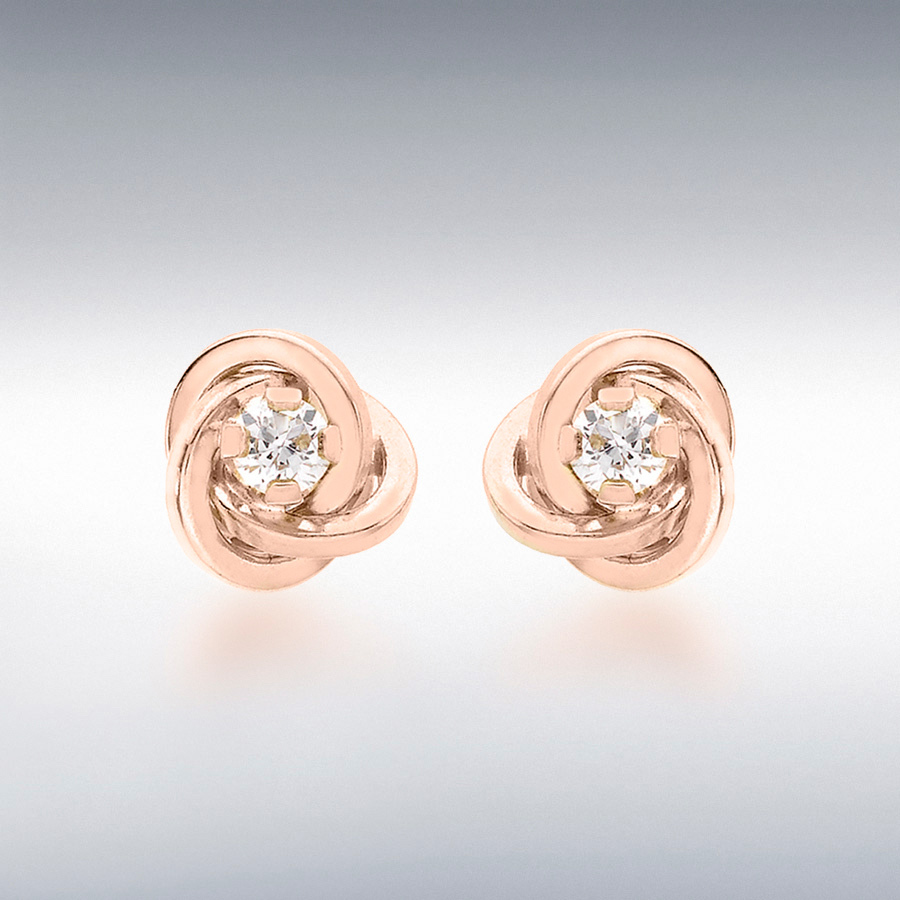 9ct Rose Gold 3mm CZ 7mm Knot Stud Earrings