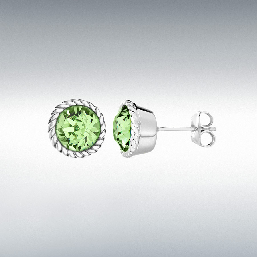 Sterling Silver Light Green Swarovski Crystal 11mm August Birthstone Stud Earrings