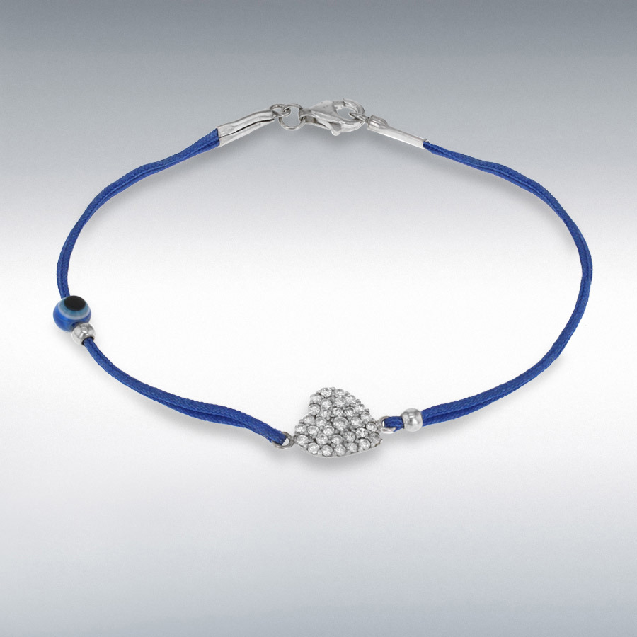 Sterling Silver White CZ Heart and Bead Blue Cord Bracelet 18cm/7""