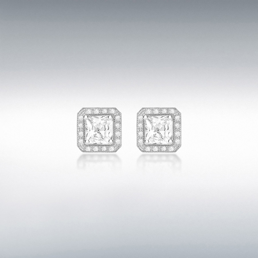 Sterling Silver Rhodium Plated CZ 7mm x 7mm Square Stud Earrings