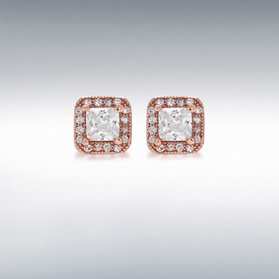 Sterling Silver Rose Gold Plated CZ 7mm x 7mm Square Stud Earrings