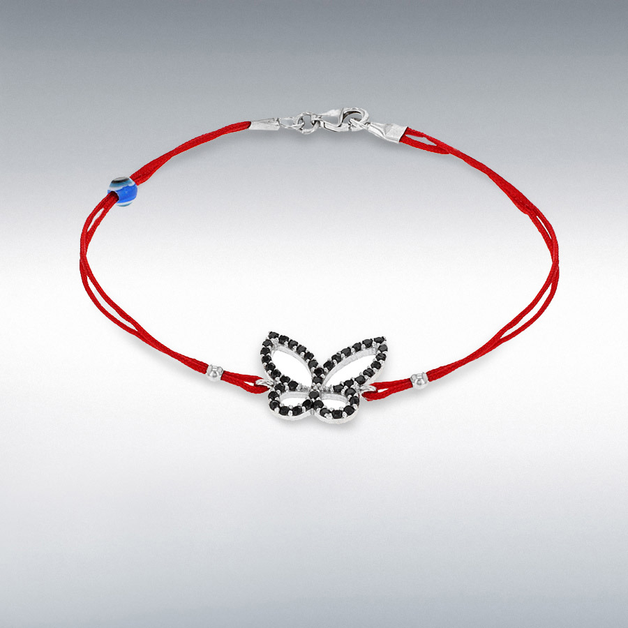 Sterling Silver Black CZ Butterfly and Bead Red Cord Bracelet 18cm/7""
