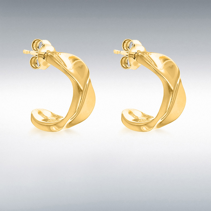 Sterling Silver Yellow Gold Plated 7mm x 14mm Twisted Half-Band Earrings