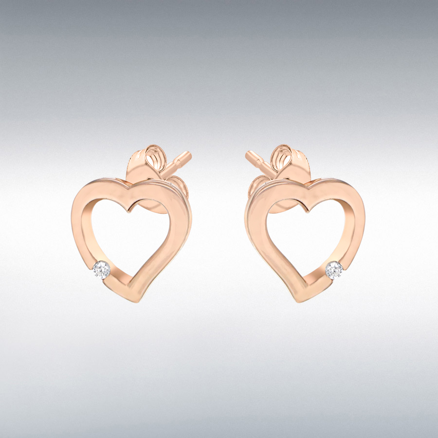 Sterling Silver Rose Gold Plated CZ 10mm x 10mm Cutout Heart Stud Earrings