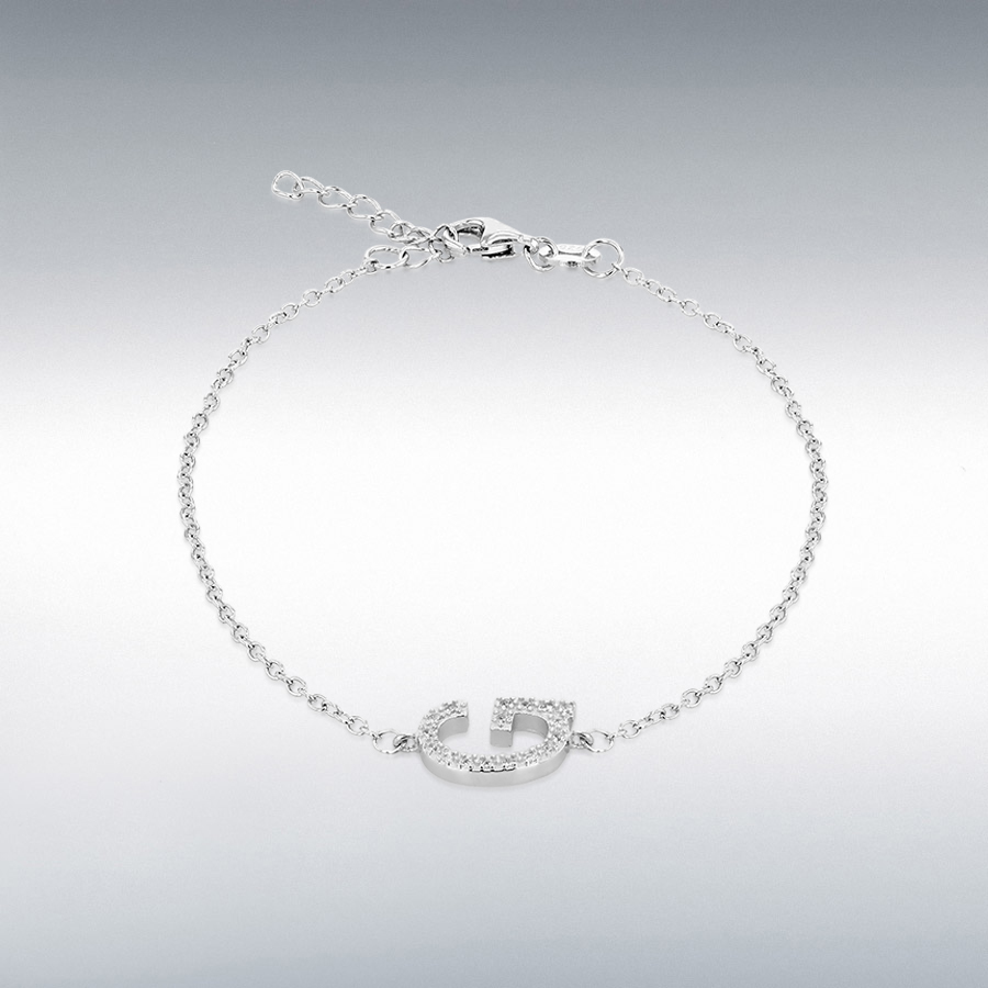 Sterling Silver Rhodium Plated CZ 11mm x 7.5mm 'G' Initial Bracelet 19cm/7.5''