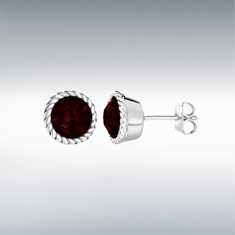 Sterling Silver Deep Red Swarovski Crystal 11mm January Birthstone Stud Earrings