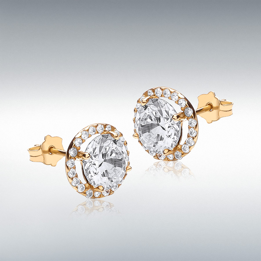9ct Yellow Gold 6mm Round CZ and Pave Set 9mm Stud Earrings