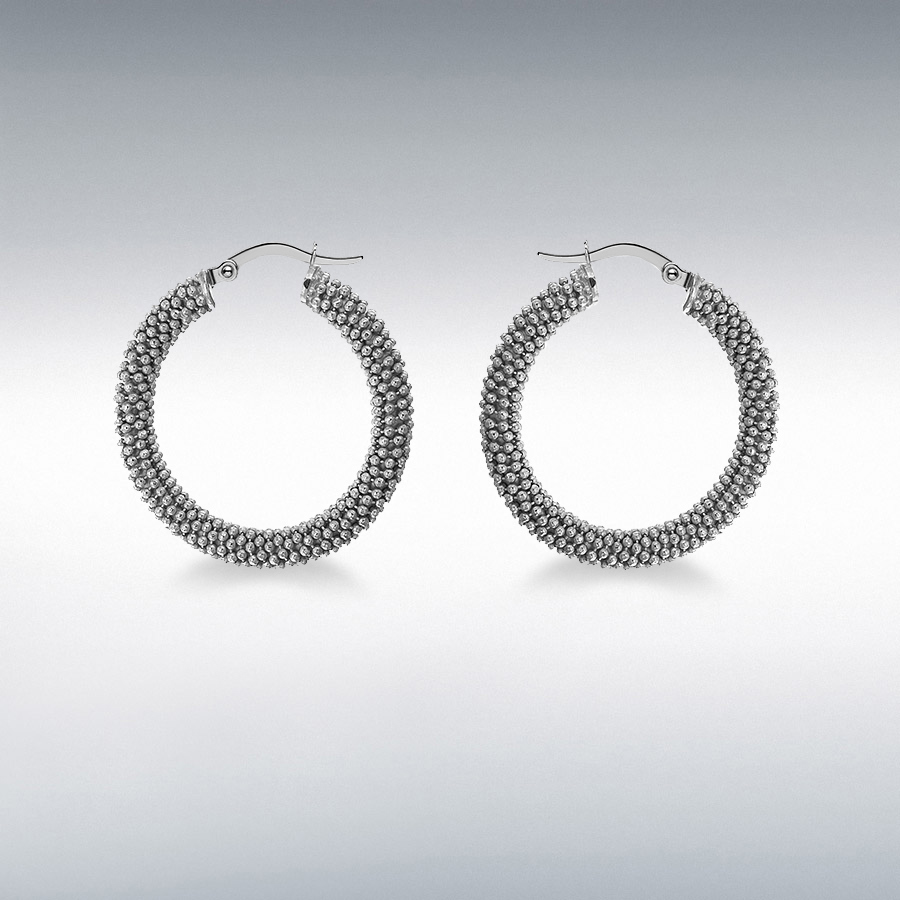 Sterling Silver Rutalite 30mm Textured Hoop Earrings