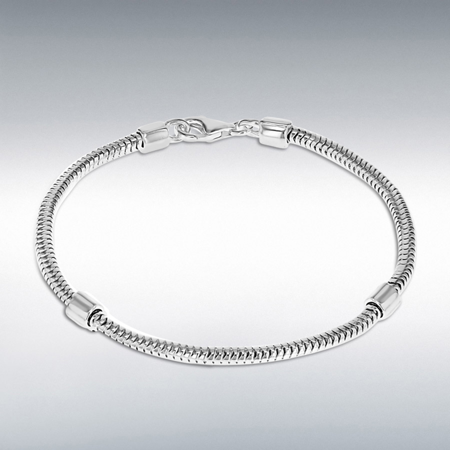 Sterling Silver 3mm Snake Chain and Stoppers Bracelet 20cm/8""