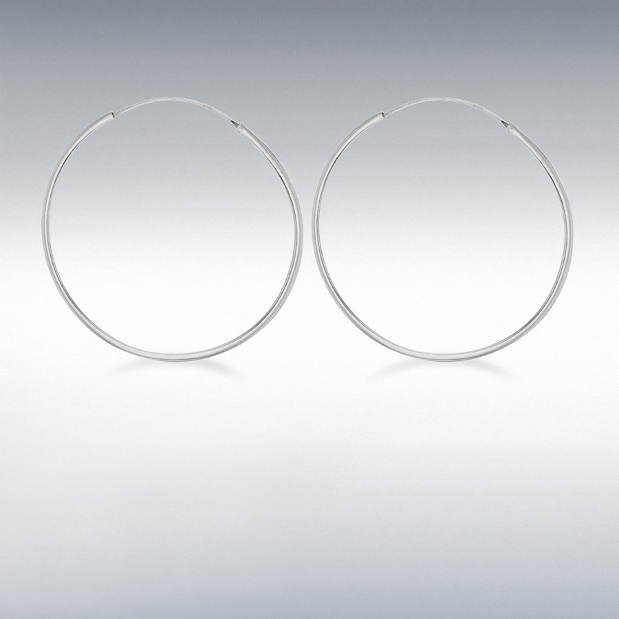 Sterling Silver 60mm Square Tube Hoop Earrings