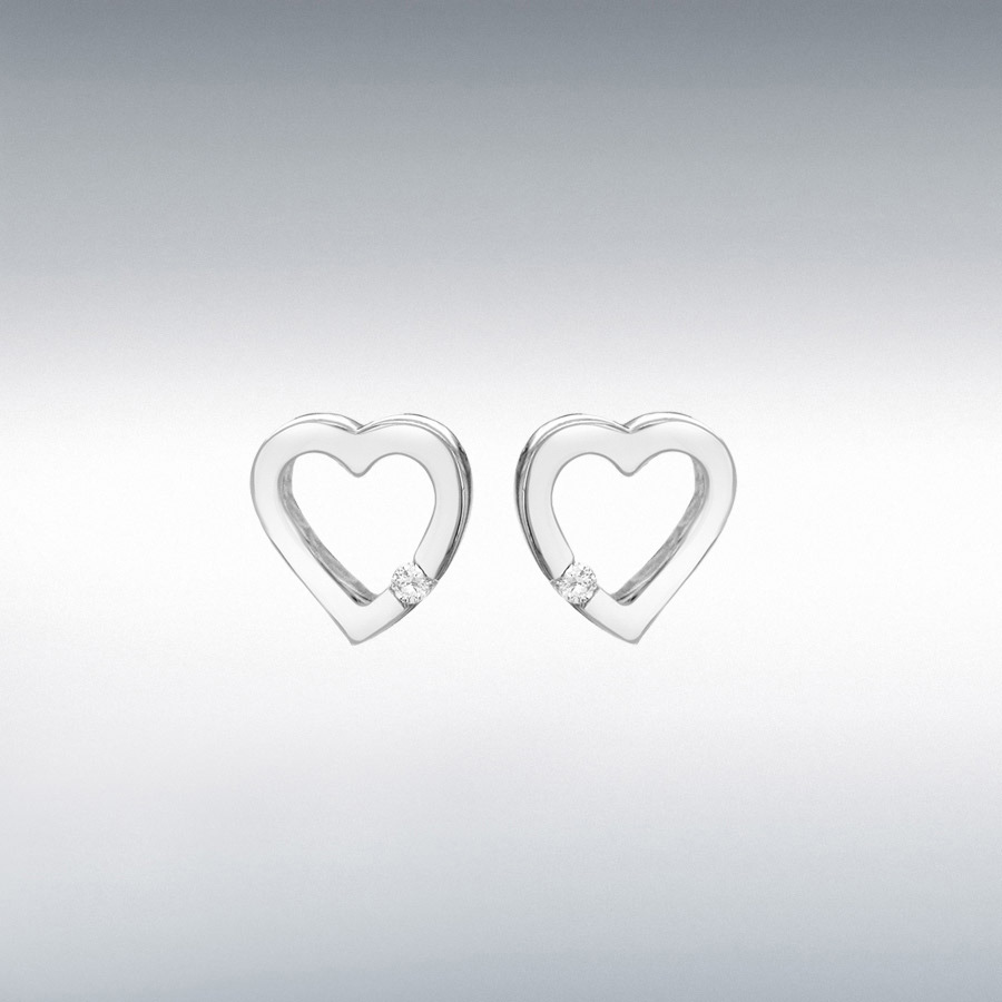 Sterling Silver CZ 10.2mm x 10.2mm Floating Heart Earrings
